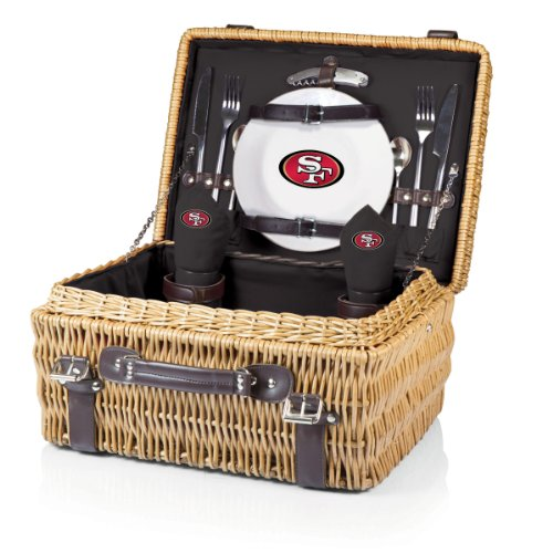 PICNIC TIME NFL San Francisco 49ers Champion Picnic Basket with Deluxe Service for Two, Black
