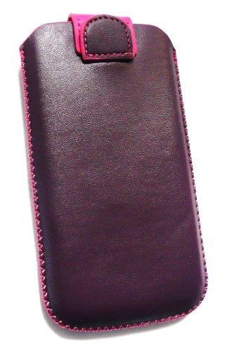 Emartbuy ® Pourpre / Premium Hot Pu Cuir Rose Diapositives À Pouch / Case / Sleeve / Holder (Taille Large) Avec Le Mécanisme De L'Étiquette De Traction Adapté Pour Apple Iphone 3G / 3Gs