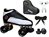 New! Epic Skates Black & White Evolution Quad Roller Jam Speed Skates & Bag Bundle! (Mens 9)