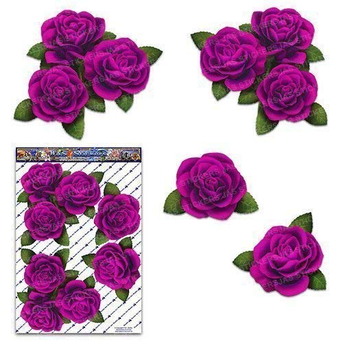 PINK ROSE FLOWER Corners Large Pack Decal Car Stickers - ST00066PK_LGE - JAS Stickers