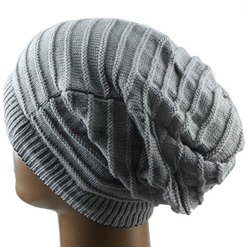 SUNYIK Grey Slouchy Beanie Hat,Winter Scarf ChunkyKnit Baggy Cap