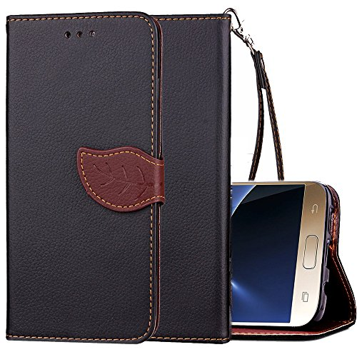 Cheap Galaxy S7 Wallet Case,S7 Wallet Case for Women,Kudex Kickstand Premium Leather Card Slots&Detachable Strap Magnetic Leaf Buckle Folio Slim Shockproof Protective Vintage Purse Cover Case (Black)