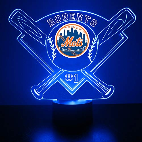 Mirror Magic Store Baseball LED Night Light - Personalize Free LED Night Lamp Gift - Features Licensed Decal and Remote (Mets)