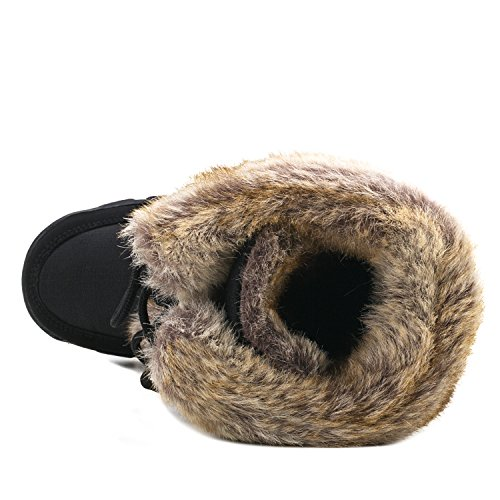 Negro Pierna H7623 Shenji Botas De Nieve Zapatos Media Invierno Mujer wzwvqHxgU