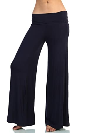 Love Melrose Women's Fold Over Waist Wide Leg Chic Palazzo Lounge Pant Navy XXL
