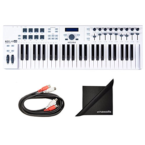 (Arturia KeyLab 49 Essential Universal MIDI Controller with Axcessables MID-203 Dual Midi Cables and Polishing Cloth )