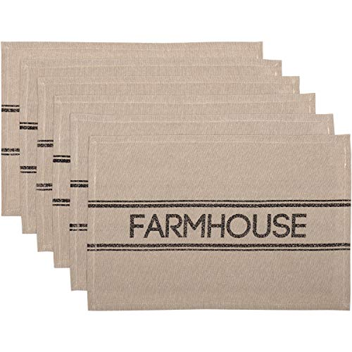 VHC Brands Farmhouse Tabletop Kitchen Sawyer Mill Cotton Stenciled Chambray Text Rectangle Placemat Set of 6 Khaki Tan ()