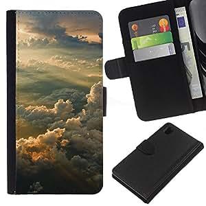 Protector de cuero de la PU de la cubierta del estilo de la carpeta del tirón BY RAYDREAMMM - Sony Xperia Z1 L39 - Sunset Sky
