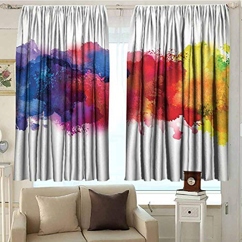 DuckBaby Abstract Extra Wide Curtains Vibrant Stains of Watercolor Paint Splatters Brushstrokes Dripping Liquid Art Privacy Protection W96 xL84 Red Yellow Blue ()