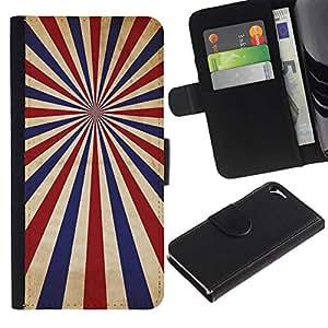 NEECELL GIFT forCITY // Billetera de cuero Caso Cubierta de protección Carcasa / Leather Wallet Case for Apple Iphone 5 / 5S // PSICODÉLICA AZUL ROJO RAYAS