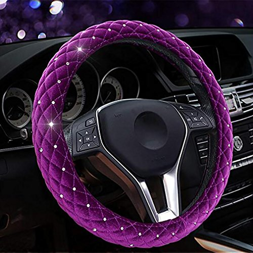 Steering Wheel Cover Diamond Crystal Plush Fur Steering-Wheel Covers Cases Auto Interior Accessories For Women (Curve Crystal Case)