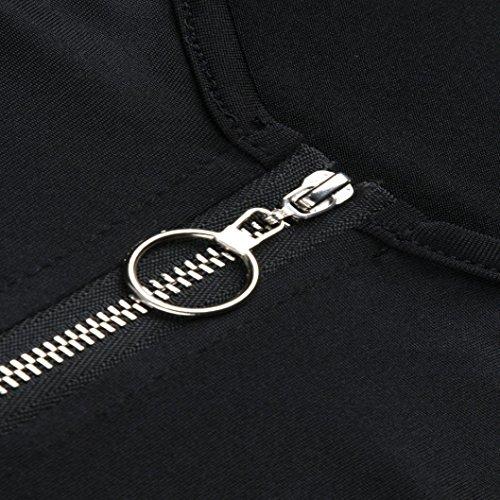 Giacca A Nero Senza Animali Camicia Donna Bhydry Collo Stampa V Maniche XvCT5nxqw
