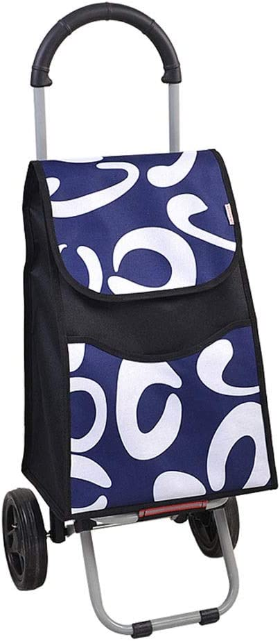 Color : B ZSLLO Foldable Shopping Trolley Bag On Wheels Push Tote Cart Carts Trolley Bag Basket Luggage Wheels Oxford Fabric Floding