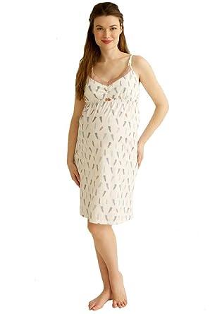 79c15acb65 Belabumbum Plume Maternity Nursing Chemise Nightgown - Plume Feather Print  - Small