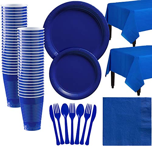 (Amscan Royal Blue Paper Tableware Kit for 50 Guests, Party Supplies Set, Includes Plates, Cups, Table Covers and)