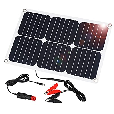 Suaoki 18V 12V 18W Portable Solar Car Battery Charger with SunPower Solar Panel, Cigarette Lighter Plug, Battery Charging Clip Line, Suction Cups, Battery Maintainer for Automobile Motorcycle