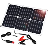 Suaoki 18V 12V 18W Solar Car Battery Charger Portable SunPower Solar Panel Trickle Charger with Cigarette Lighter Plug, Battery Charging Clip Line for Motorcycle RV Boat Marine Snowmobile