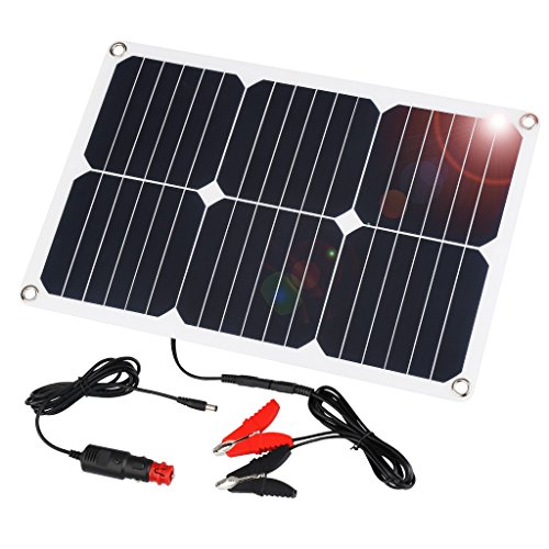 Price comparison product image Suaoki 18V 12V 18W Solar Car Battery Charger Portable SunPower Solar Panel Trickle Charger with Cigarette Lighter Plug, Battery Charging Clip Line for Motorcycle RV Boat Marine Snowmobile