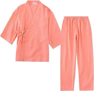 Pijama de Kimono para Hombres y Mujeres de crepé de algodón 100% Pijamas de Manga Larga con Cuello en v Kimono de Mujer Traje de Talla Grande Sólido Pijama Mujer: Amazon.es: Ropa