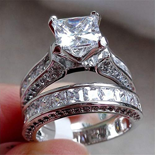 Myhouse Zircon Ring Pairs Rhinestone Jewelry Ring Set for Women Men Wedding Engagement Party, 6