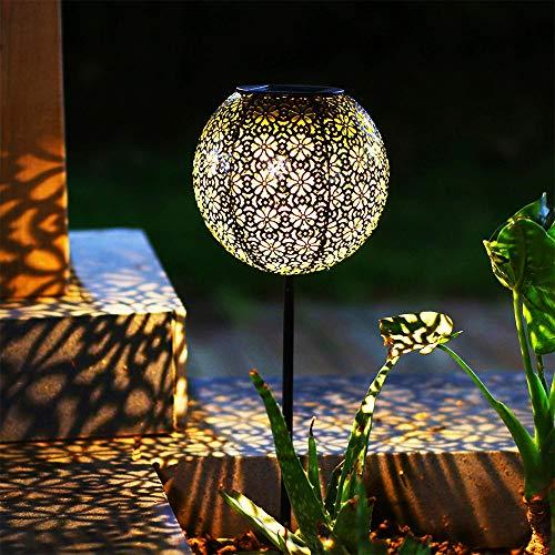 Solar Lantern Outdoor Solar Hanging Lanterns Solar Garden Lights Patio Decor Metal Yard Art Garden Accessories Outdoor Decorations for Porch (Stake)