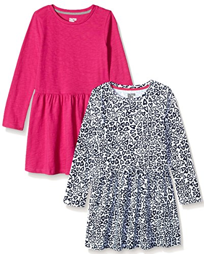 - Spotted Zebra Big Girls' Knit Long-Sleeve Play Dress, Heart/Fuchsia, Medium (8)