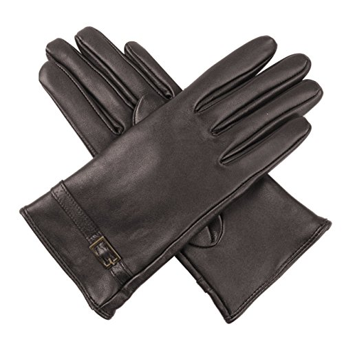 Luxury Lane Women's Cashmere Lined Lambskin Leather Gloves with Buckle - Chocolate Medium by Luxury Lane (Image #3)