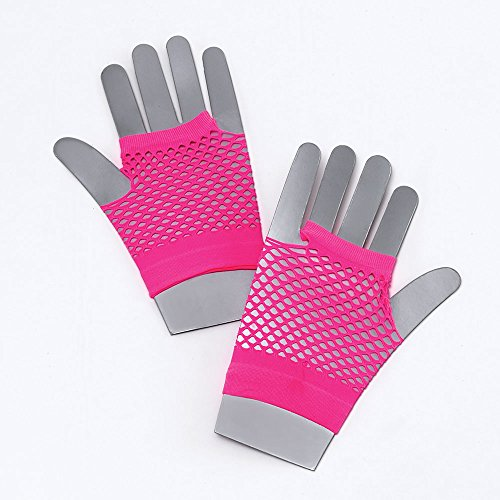 Bristol Novelty BA571 Fishnet Gloves Short Neon Pink, One Size ()