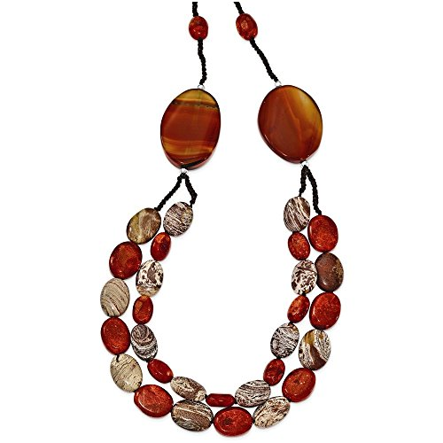 Sterling Silver Carnelian/Reconstituted Coral/Red Zebra Jasper Necklace