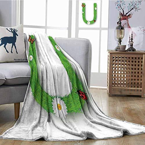 (SONGDAYONE Polyester Blanket Letter U Machine Washable Capital U with Daisy Petals Ladybug Garden Blossoms Girls Nursery Theme Green Multicolor W51 xL60)