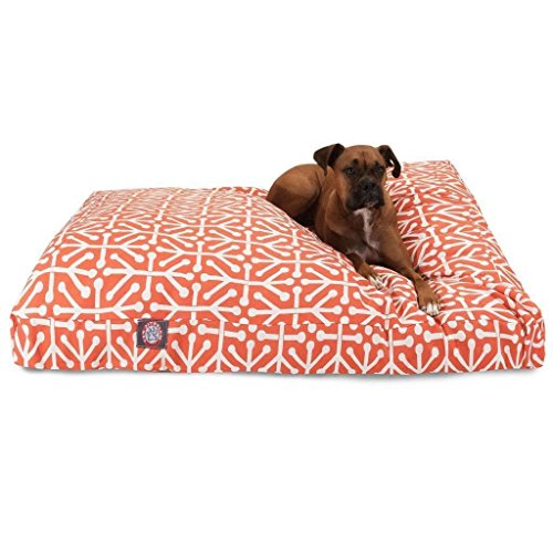 Large Orange White Geometric Pattern Dog Bed, Modern Fun Bold Print Pet Bedding, Rectangle, Features Waterproof base, Stain Resistant, Removable Cover, Sturdy Zipper Design, Polyester by N2