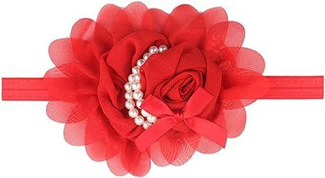 Sanwood/® Baby Girl Headband Infant Chiffon Headdress Faux Pearl Hairband Red