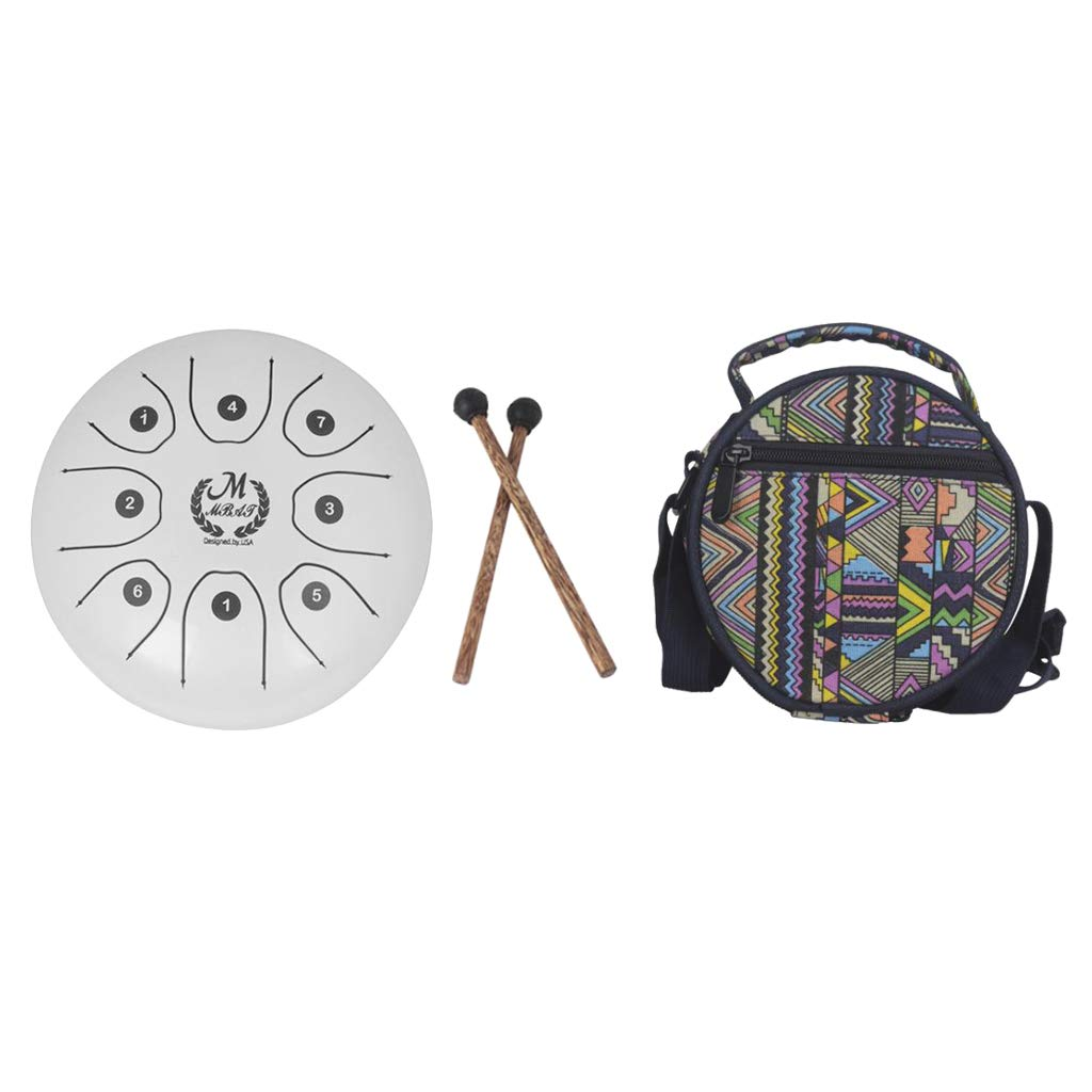 kesoto 5.5 Inch 8 Tones Steel Tongue Drum Tank Drum Small Hand Percussion with Sticks Bag for Camping, Yoga, Meditation, Party - White, as described