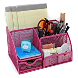 LOHOME® Desk Organizer, Space Saving Mesh Desk Organizer 5 Components Office Supply Caddy Combination Pen Holder Card Case Organizer Storage Box with Drawer (Pink)