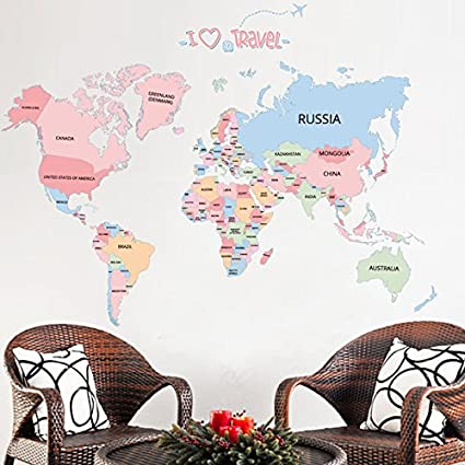 Buy New Colored Letters World Map DIY Vinyl Wall Stickers Kids Love - World map wallpaper for walls india