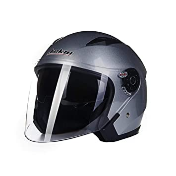 White L Folconauto Motorcycle Scooter Helmet,Open Face Jet Crash Motorbike Helmet