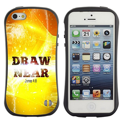 DREAMCASE Citation de Bible Silicone et Rigide Coque Protection Image Etui solide Housse T¨¦l¨¦phone Case Pour APPLE IPHONE 5 / 5S - JAMES 4:8 DRAW NEAR
