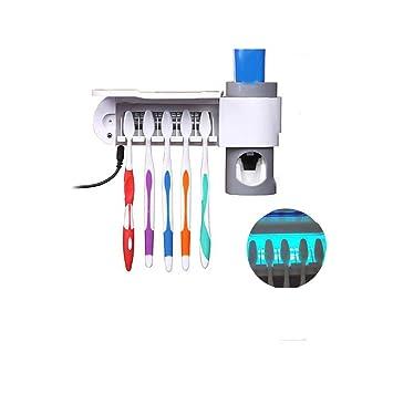 Dispensador Automático de Pasta de Dientes Esterilizador de Cepillo de Dientes UV Con Soporte de Cepillo