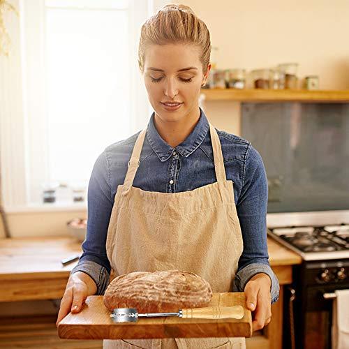 Bread Lame, Taglierina per pane con frullatore in acciaio inossidabile,Coltello per Pane con 5 Lame Sostituibili,Adatto per pane fatto a mano in cucina (De madera)