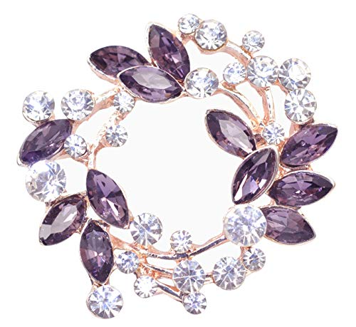 Christmas Pin Holiday (Gyn&Joy Womens Diamond Inspired Floral Wreath Christmas Holiday Purple Brooch Pin BZ005PL)