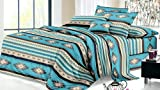 Rustic Western Southwest Native American Design 4 Piece Comforter Set Navajo Print Multicolor Turquoise Blue Ivory and Black 17426 Twin Turquoise Comforter Set