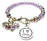 I Love Oma Child Handwriting Splash of Color Bracelet in Lavender Purple