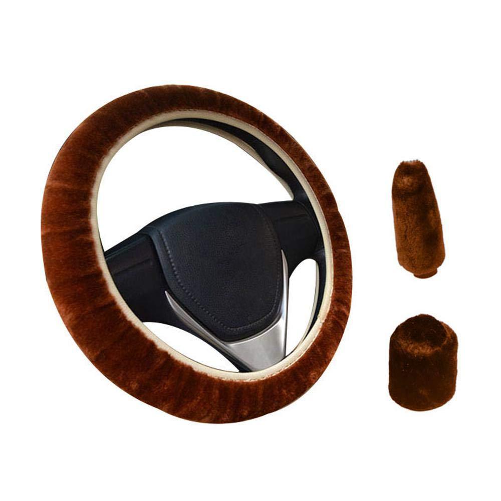 KOBWA 3 Piè ces Couvre-Volant de Voiture Laine, Protè ge-Coussin de Vé hicule Antidé rapant, Disponible pour 35cm-43cm, Noir Protège-Coussin de Véhicule Antidérapant