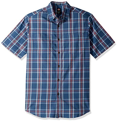 Dickies Men's Short Sleeve Flex Plaid Shirt, Rinsed Dark Denim/Red, 2X