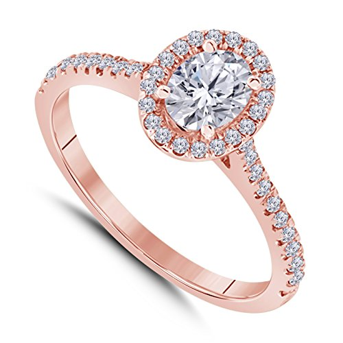 Star Oval Shape Ring - 14k Rose Gold Plated Alloy Forever Beautiful Oval Shape CZ Diamond Halo Engagement Ring 1 ct