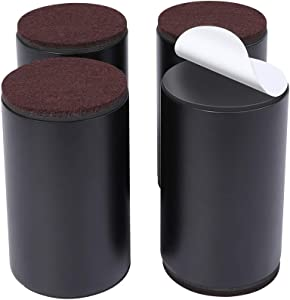 """Set of 4 Bed Furniture Risers - Lifts Height 4"""" - Heavy Duty Solid Steel Risers for Couch, Table, Chair with Bottom Felt Pad, Protect Floors and Surfaces, Risers Can't be Moved"""