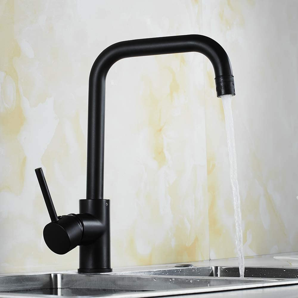 Commercial Matte Black Kitchen Faucet, Single Handle High Arc Bar Sink Faucets with 2 Functions 360 Degree Rotation Kitchen Sink Faucets,YY-66M012R
