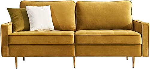 Artiron Modern Velvet Fabric Futon Couch Adjustable Back Sofa with 2 Decorative Pillows Living Room Furniture Luxury Look and High-end Velvet Fabric Sofa Yellow