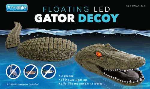 Goose Fountain (AquaLife 32-Inch Floating 3-Piece Gator Decoy and Pond Float with LED)