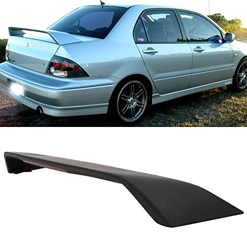 - Trunk Spoiler Fits 2002-2007 Mitsubishi Lancer | Factory Style ABS Unpainted Black With 3rd LED Light Trunk Boot Lip Spoiler Wing Deck Lid By IKON MOTORSPORTS | 2003 2004 2005 2006